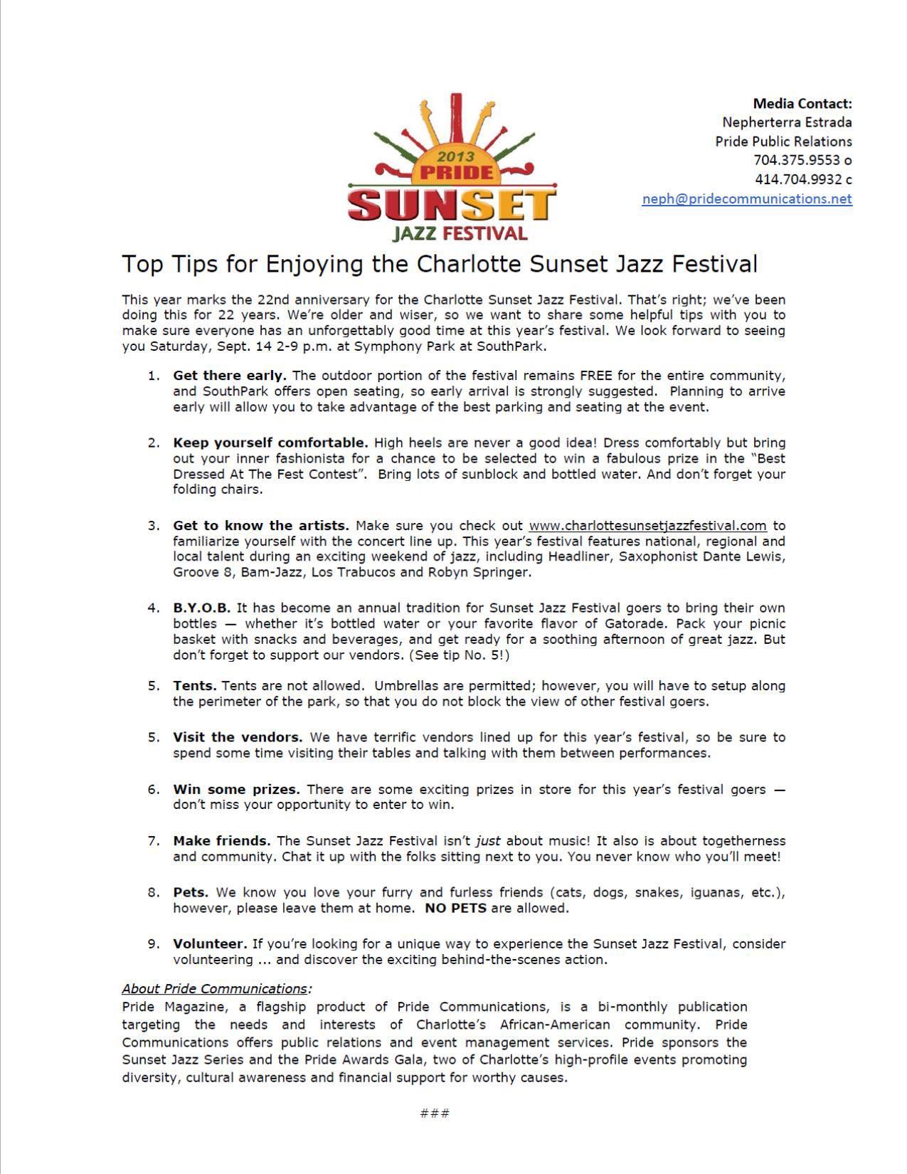 Tips for Sunset Jazz Festival
